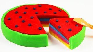 Play Doh Rainbow Watermelon Ice Cream DIY Video For Kids Kinetic Sand Learn Colors