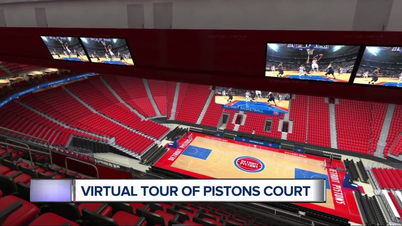 sports shoes 20a9c d2378 Virtual tour of the Pistons new court at Little Caesars Arena