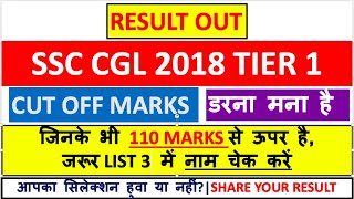 SSC CGL 2018 TIER 1 RESUT OUT   CHECK THE CUTOFF MARKS