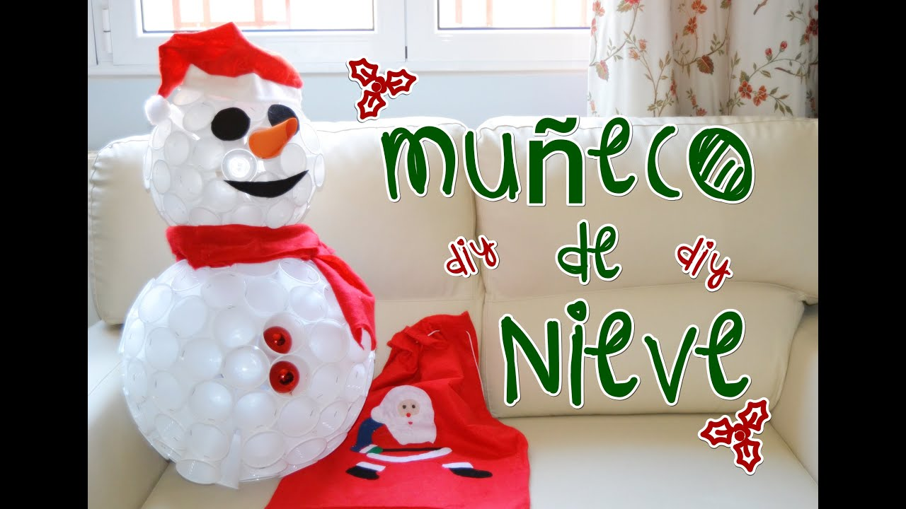 Decoraci n navide a diy mu eco de nieve con vasos de for Ideas de decoracion navidena