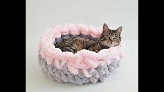 HOW TO HAND CROCHET CAT BED WITH CHUNKY CHENILLE, TWO COLORS - 10% OFF