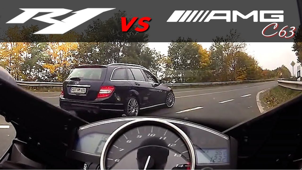 Mercedes SL63 AMG vs Yamaha R1 mit 299 km/h in Schweden unterwegs