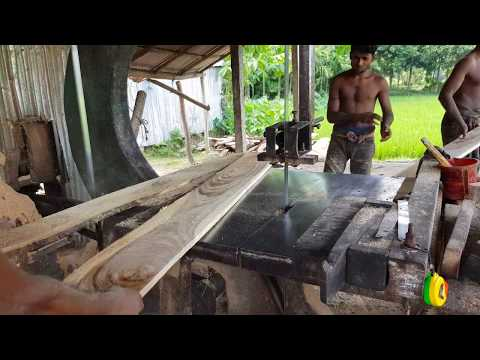 Solid Teak Slice of Wood For Bad Making।Furniture making Wood Polishing and Cutting at Sawmill
