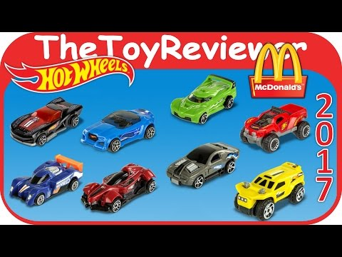 2017 Hot Wheels Cars McDonalds Happy Meal COMPLETE SET 8 Unboxing Toy Review by TheToyReviewer