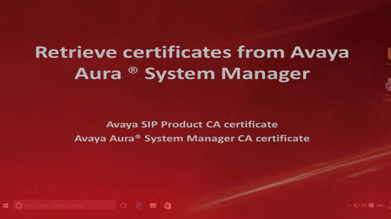 How To Export Ssl Certificates From Avaya Aura System Manager For