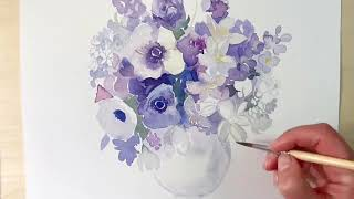 Painting a bunch of flowers with watercolors