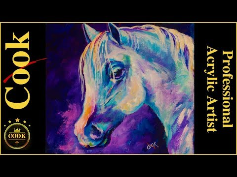 White Arabian Horse Easy Step by Step Acrylic Painting for Beginners