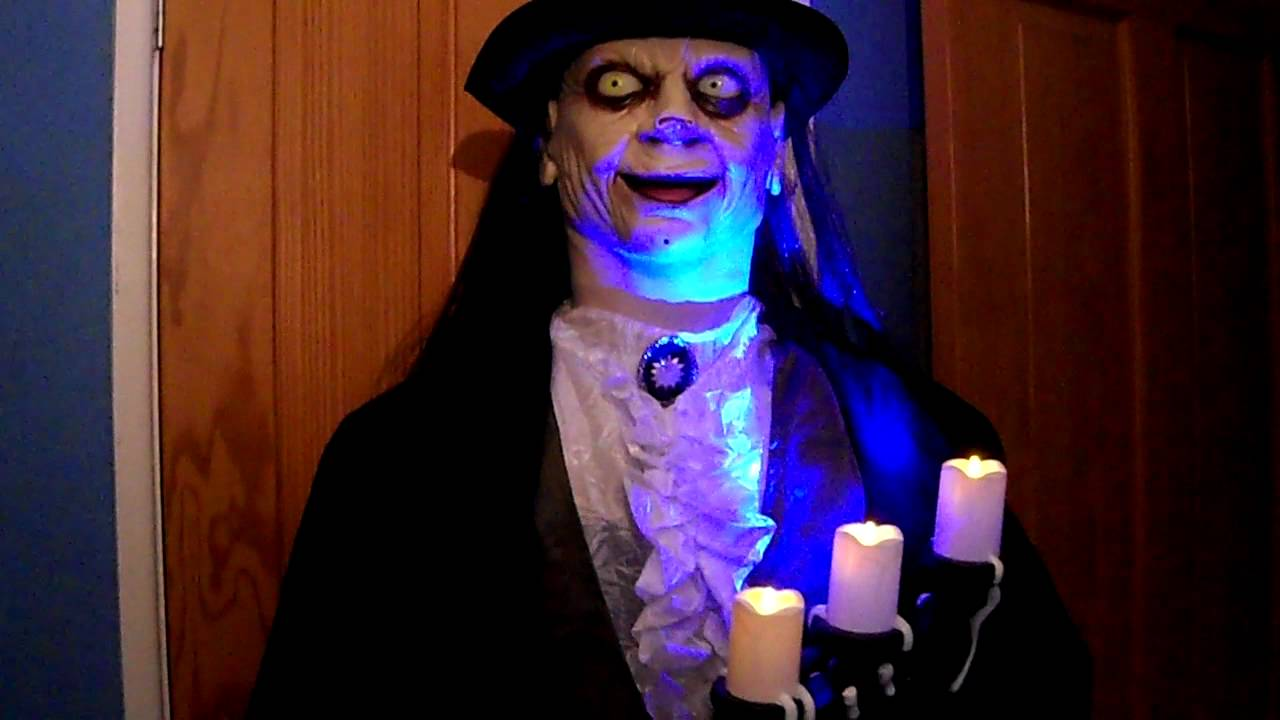 halloween party prop gemmy 6ft animated talking giles the undead butler with light up candelabra youtube - Www Gemmy Com Halloween
