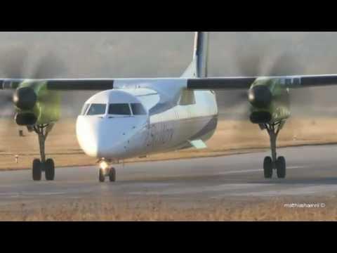 SkyWork Airlines DASH-8 Q400 Take Off at Airport Bern-Belp