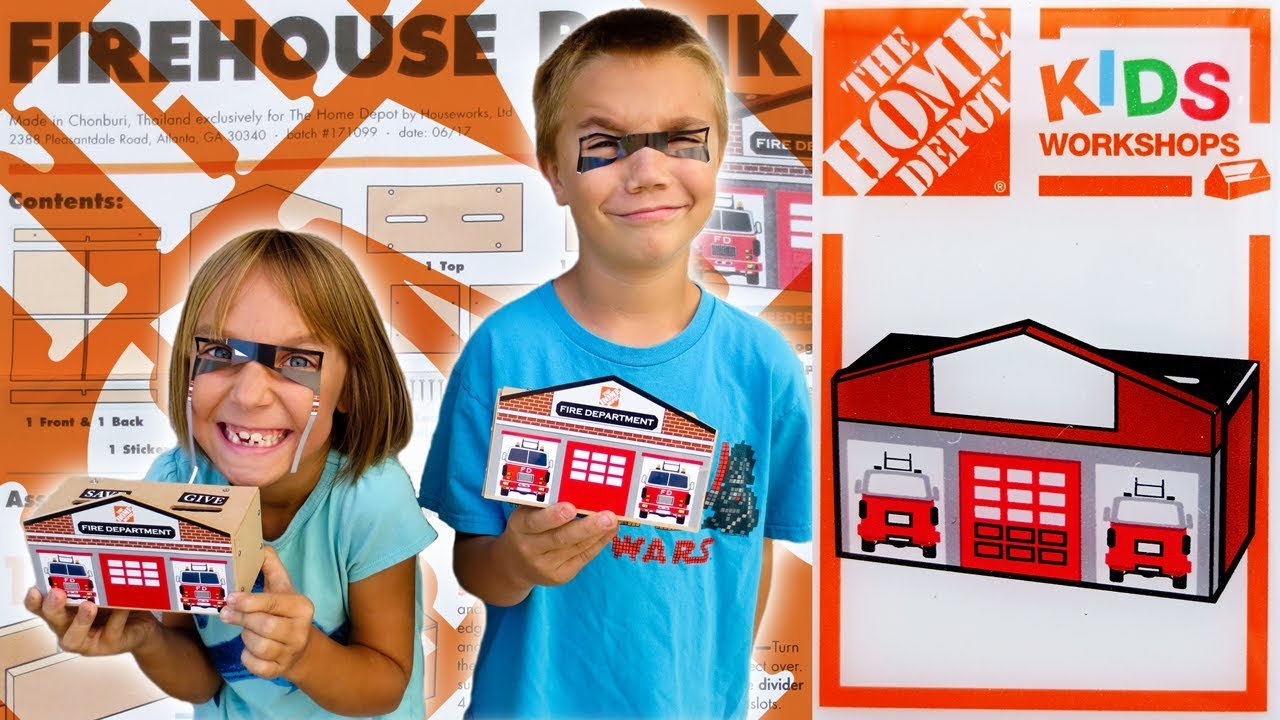 Bank Home Depot Home Depot Kids Workshop Build Firehouse Bank Family Vlog 10 7 2017
