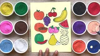Đồ chơi trẻ em, TÔ MÀU TRANH CÁT TRÁI CÂY BỐN MÙA - Colored sand painting fruits (Chim Xinh)