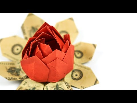Dollar Origami Flower 🌷 Making A Money Origami LOTUS Or LILY