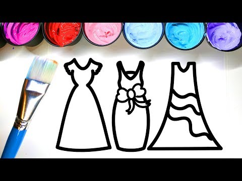 Coloring Dresses Pretty and Painting them with Paint, Children can Learn to Color with Paint