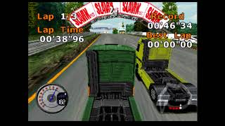 Truck Racing - PS1 - Track 5 - Sunny Banks (Hard Difficulty)