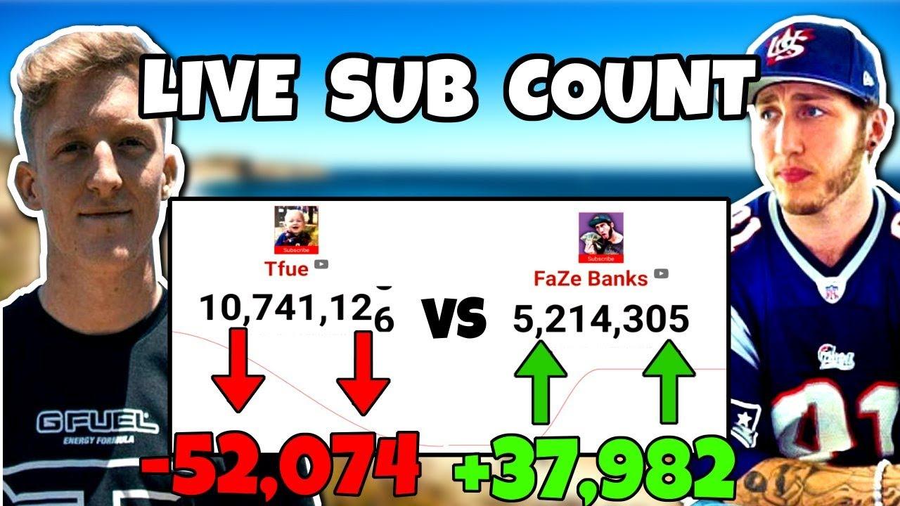 FaZe TFue vs FaZe Banks   LIVE SUBSCRIBER COUNT