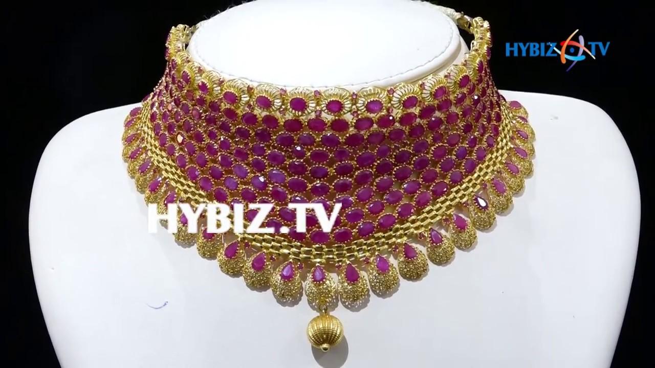 Ramadan Jewellery Latest Pink Ruby bridal choker in multi rows