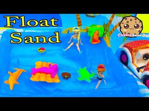 Kinetic Float Sand Island Party with Disney Frozen Queen Elsa & Season 4 Shopkins - Water Play Video