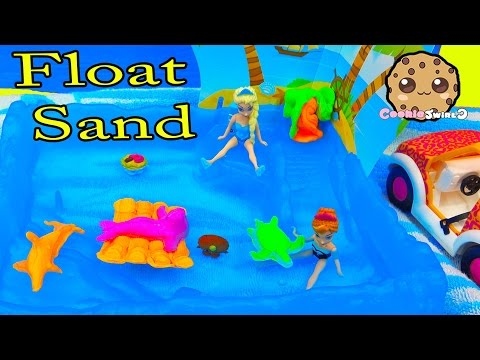 Kinetic Float Sand Island Party With Disney Frozen Queen Elsa & Season 4 Shopkins - Water Play Video