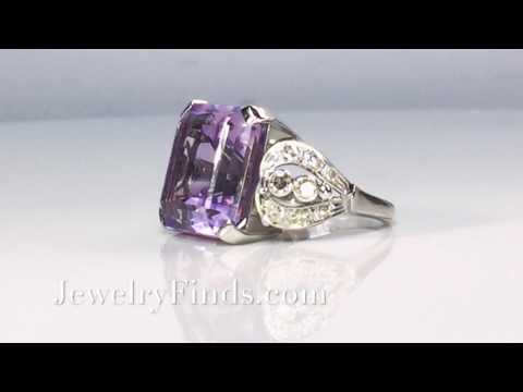 Vintage Amethyst Diamond Ring Circa 1940's Rose De France Filigree Ring Platinum