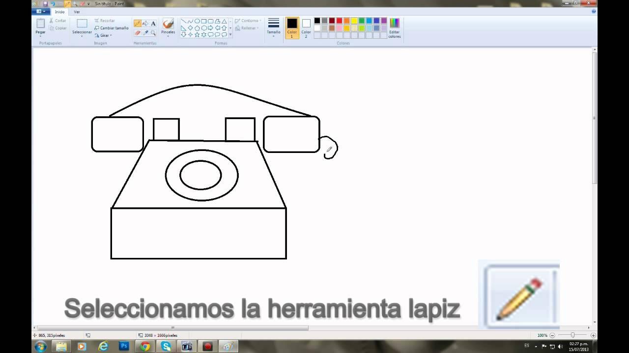 Dibujo En Paint El Teléfono Y El Movil