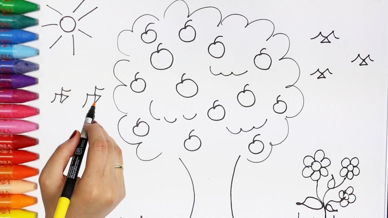 El Árbol de Manzanas | Cómo dibujar y colorear los para niños - YouTube