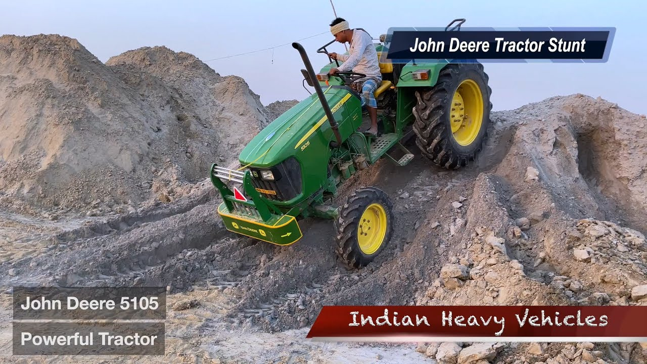 New John Deere 5105 4wd Tractor Trying To Climb Heap of soil And FlyAsh | John Deere Tractor Stunts.