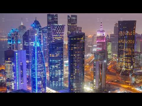 The skyline of the West Bay area from top in Doha day to night timelapse, Qatar