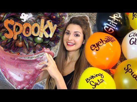 DIY BALLOON POPPING SLIME for HALLOWEEN CHALLENGE - SoCraftastic