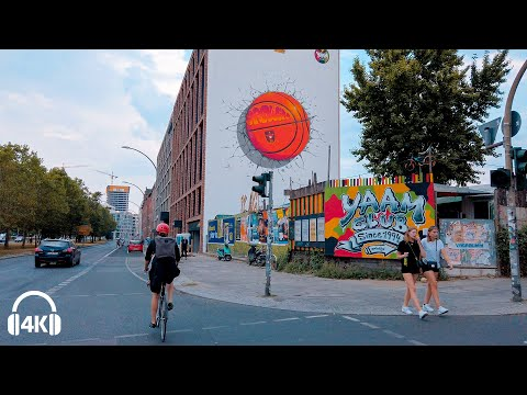 Berlin Cycling in Gray Sky day, Alexanderplatz to East Side Gallery 2020 [4K] City Soundscape