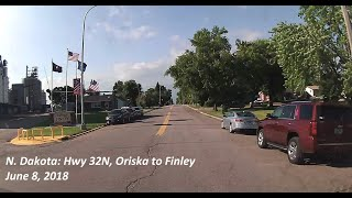 A drive in North Dakota on June 8, 2018, along Highway 32 north (a/k/a 128th Ave SE) from the 302 exit from I-94 east in Oriska into Finley, about 42 miles.