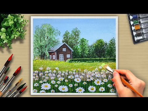 House Across the Road Landscape /Easy Acrylic Painting for Beginners / #9 Acrylic Art.