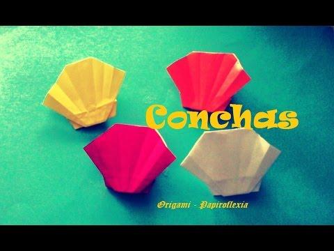 Origami papiroflexia concha marina de papel muy f cil - Como hacer conchas finas ...