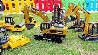 [30Min] Car Toy Dump Truck Excavator Build Bridge Toys Play