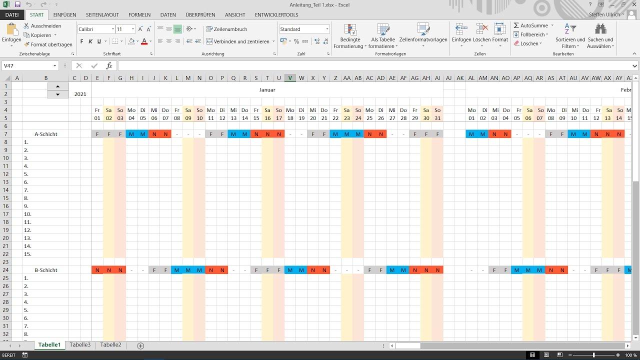 Excel Schichtplan erstellen Teil_3 Bedingte Formatierung WE ...