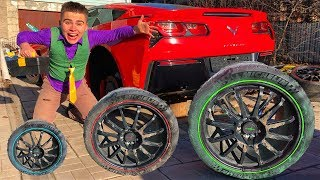 Funny Mr. Joe on Corvette without Wheels VS Small Wheel in Tire Service & Started Race for Kids