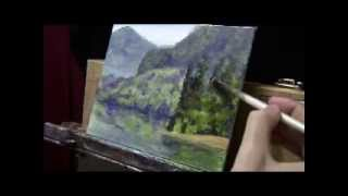 How To Paint a Landscape with Depth and Reflections - Acrylic Painting Lesson