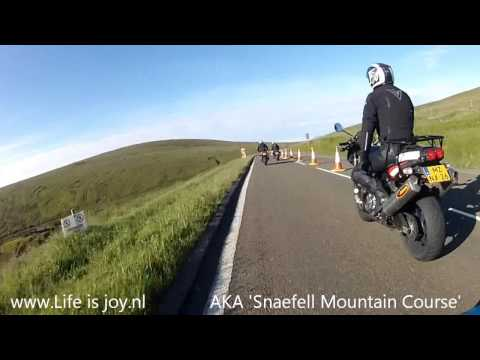 Isle of man Mountain Road full speed over Snaefell Mountain Course during the TT 2014 Ramsey