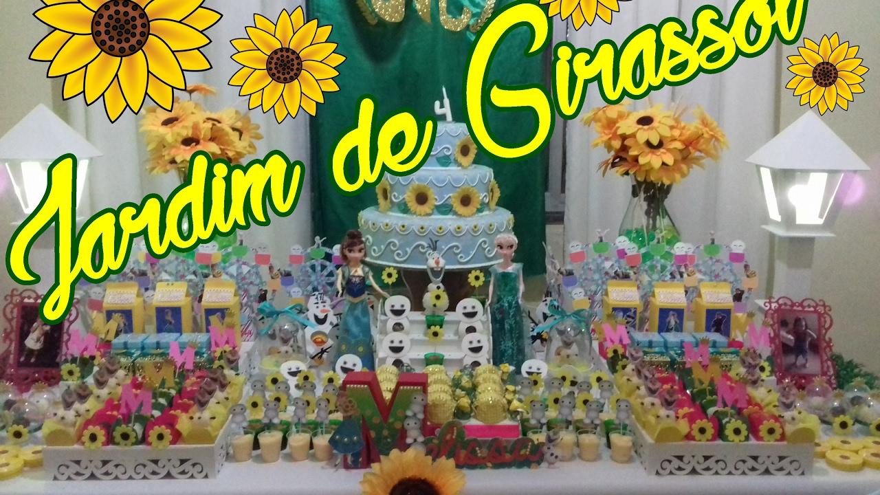 Faça voc u00ea mesmo sua festa Ana FROZEN + Jardim de Girassol Gabi Alves YouTube -> Decoração De Girassol Para Aniversario
