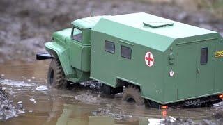 Обзор Самодельный военный грузовик на радиоуправлении УРАЛ 43206 4х4 зверская мощь СССР  RC car