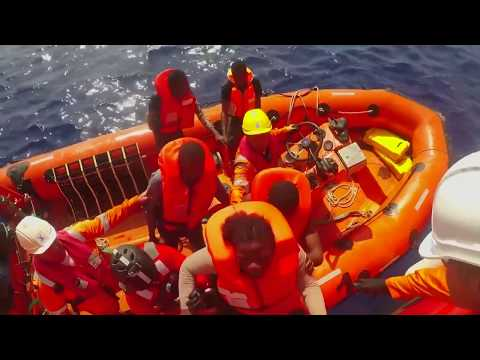 Campaigners trying to stop migrant rescue boats off coasts of Europe.