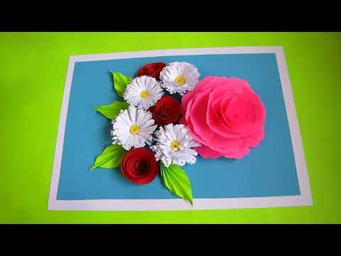DIY Flower Bouquet Pop up Card-Paper Crafts. Handmade Craft. Mother's Day Card. 3D. Wall Hanging.