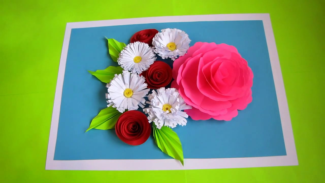 Diy Flower Bouquet Pop Up Card Paper Crafts Handmade Craft