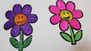 learn colors|easy to draw sunflower for kids|Funway to painting 8 sunflowers|crayola washable paints