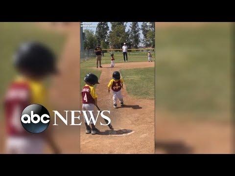Little League slow-motion run: Pint-size baseball player savors run home