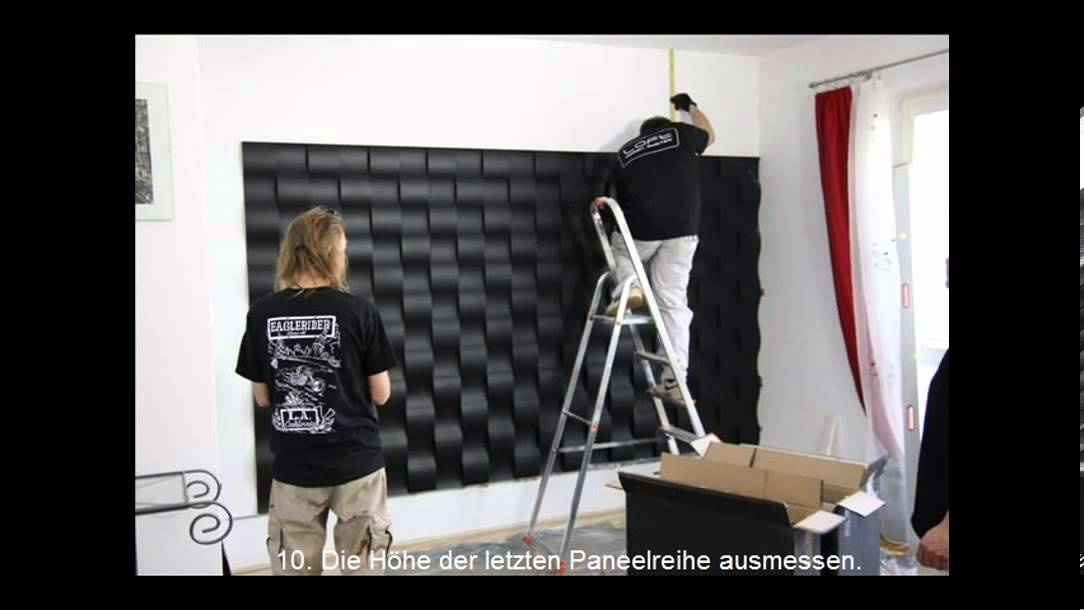 wandgestaltung einfache montage 3d wandpaneele loft design system youtube. Black Bedroom Furniture Sets. Home Design Ideas