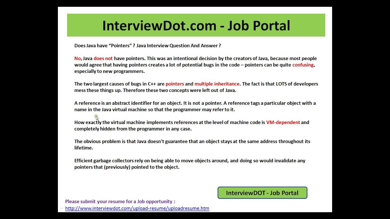 java interview question and answer does java have pointers java interview question and answer does java have pointers interview question and answer