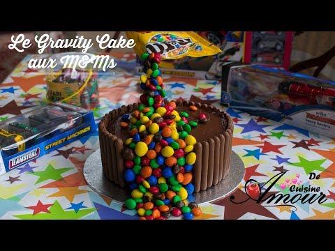 recette-du-gravity-cake,-gateau-d'anniversaire-au-chocolat-m&m's