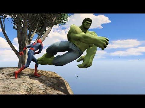 GTA 5 Crazy Ragdolls Spiderman With Hulk Ep.22