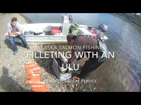 Alaska Salmon Fishing   Filleting with an Ulu