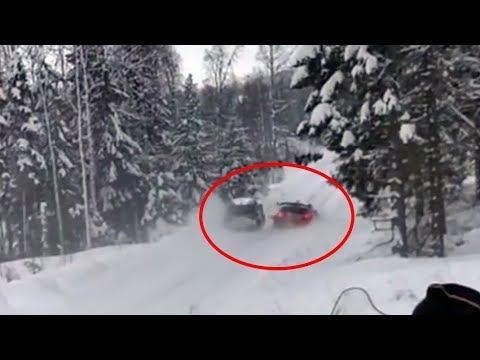 WRC Rally Sweden 2018 -  Tanak crashes into Meeke